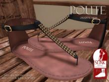 Poute- Jade Flat Sandals- Black