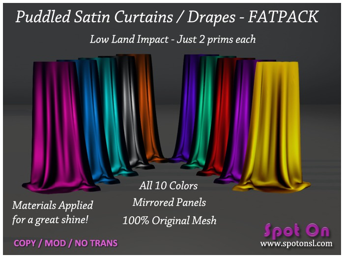 Spot On Puddled Satin Curtains Drapes FATPACK