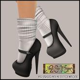 *VHD Black MJ Stilettos w/White Striped Socks