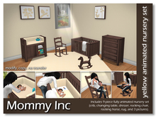 *Mommy Inc* 9-Piece Nursery Set - Yellow Walnut