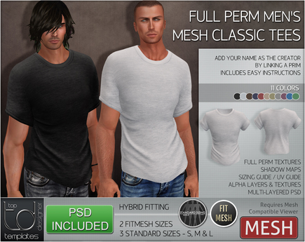 -TD- TEMPLATES - Mens MESH CLASSIC Tees w/FitMESH *FULL PERMS*