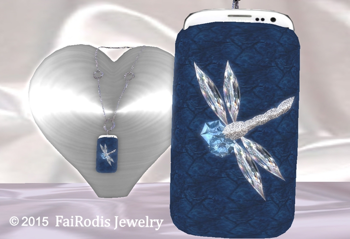 FaiRodis Smartphone in cover with silver chain dragonfly_GROUP GIFT