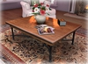 Wrought Iron and Distressed Wood Coffee Table Light w Menu COPY