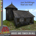 House and Tower on Hill FULL PERM MESH, medieval cottage with tower and interior, textured