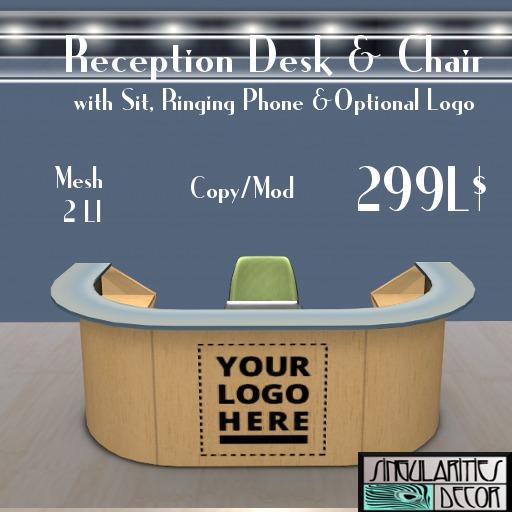 Mesh Reception Desk & Chair,  Copy Mod, 2 LI