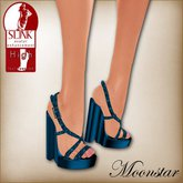 Blue Beaded Slink High Shoes by Moonstar T