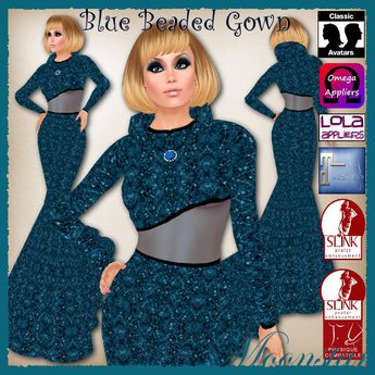 Blue Beaded Gown and Necklace by Moonstar T