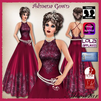 Admena Gown and Pearl Jewellery by Moonstar T