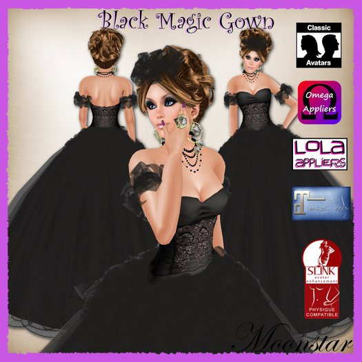 Black Magic Gown and Jewellery by Moonstar T