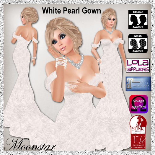 White Pearl Gown and Jewellery by Moonstar T
