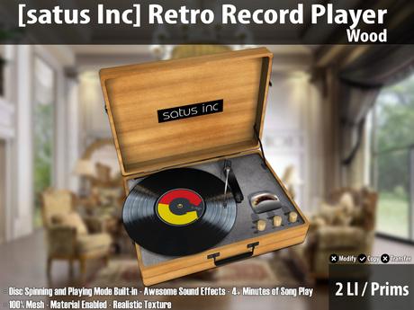 [satus Inc] Retro Record Player - Wood ~ 2 LI/Prims