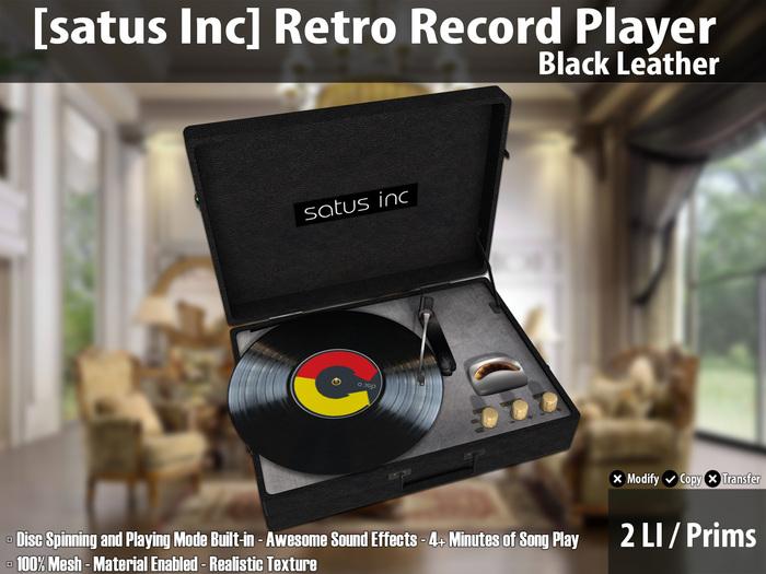 [satus Inc] Retro Record Player - Black Leather