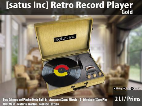 [satus Inc] Retro Record Player - Gold ~ 2 LI/Prims