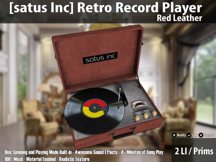 [satus Inc] Retro Record Player - Red Leather ~ 2 LI/Prims