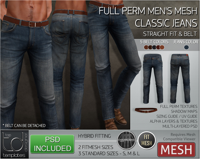 -TD- TEMPLATES - Mens MESH CLASSIC Jeans w/FitMesh (Straight Fit) *FULL PERMS*
