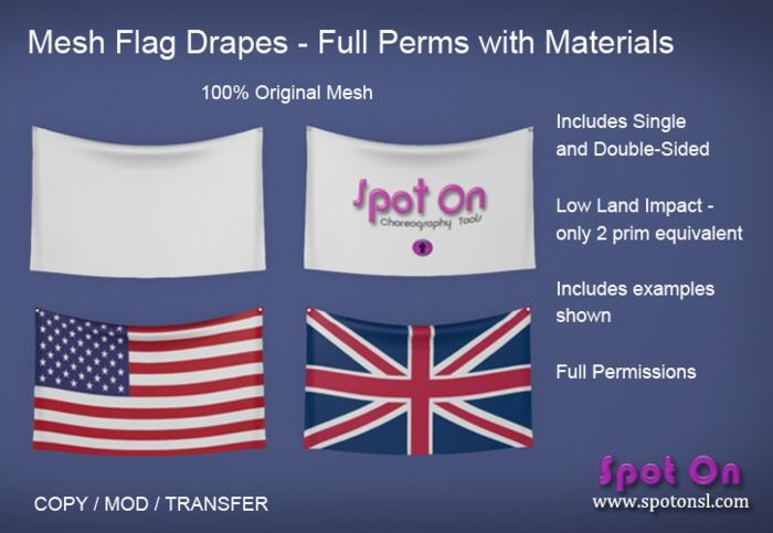 Spot On Mesh Flag Drapes - Full Perms