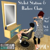 Animated Hair Stylist Station & Barber Chair,  Copy Mod, 2 LI