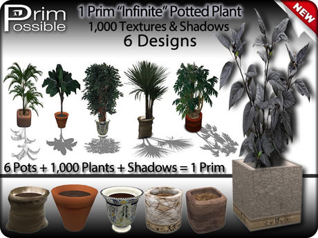 1 Prim Mesh Potted Plant + 6 Pots + 1,000 Plants + Shadows = 1 Prim COPYABLE Low Prim Potted Plant Mesh Potted Plant