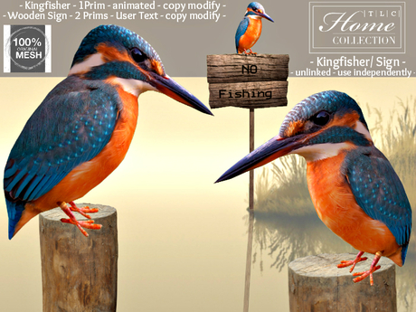Kingfisher, Wooden Sign, adjustable text