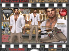 FULL - ZED FITTED MESH Aesthetic Latte Casual Outfit, Shirt / Pants / Shoes w\ HUD / Bracelet / Necklace