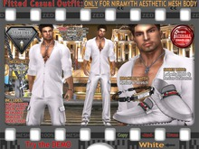 FULL - ZED FITTED MESH Aesthetic White Casual Outfit, Shirt / Pants / Shoes w\ HUD / Bracelet / Necklace