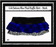Cele'Sations Ruffle Mini Skirt Blue Plaid MESH [ Maitreya Slink TMP Eve Belleza ]
