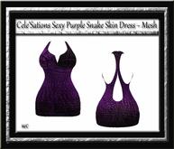Cele'Sations Sexy Purple Snake Skin Mini Dress MESH [ Maitreya Slink TMP Eve Belleza ]