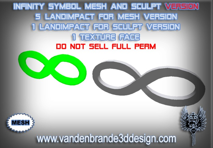 ~Full perm Infinity Symbol MESH + 1 Land Impact Sculptie version included