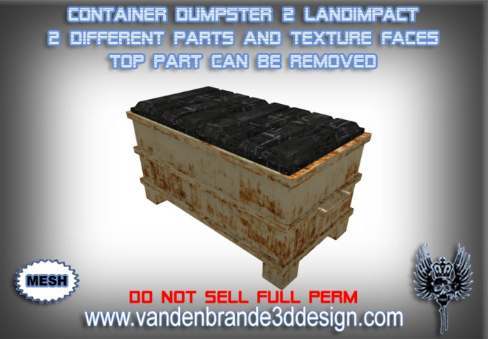 ~Full perm Container/dumpster MESH 2 Land Impact TOP PART CAN BE REMOVED