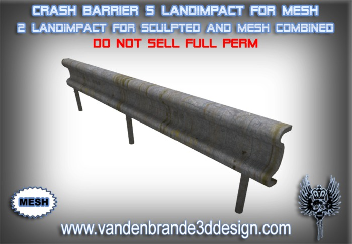 ~Full perm Guard Rail / Crash Barrierl 4 Li MESH + 1 Land Impact Sculptie version included