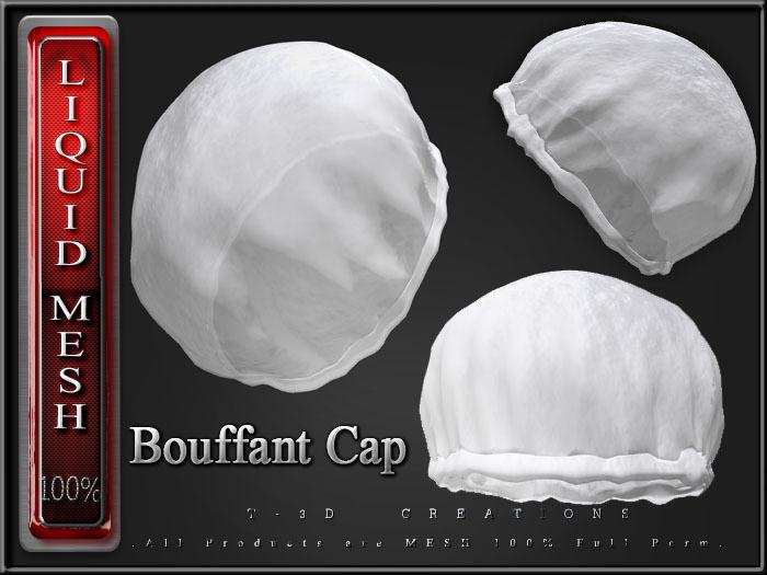 T-3D Creations [ LQ Mesh - Bouffant Cap ] LIQUID MESH with Non Rigged Mesh - Full Perm -