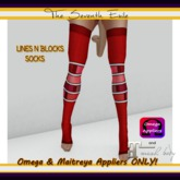 T7E - Lines N Blocks Socks: Red - Omega & Maitreya Appliers