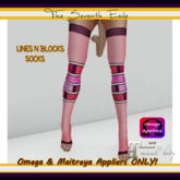 T7E - Lines N Blocks Socks: Raspberry - Omega & Maitreya Appliers