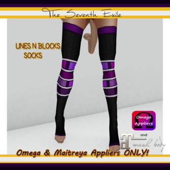 T7E - Lines N Blocks Socks: Black & Purple - Omega & Maitreya Appliers