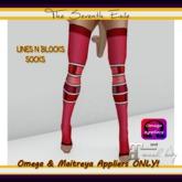 T7E - Lines N Blocks Socks: Cherry - Omega & Maitreya Appliers