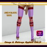 T7E - Lines N Blocks Socks: Lilac & Red - Omega & Maitreya Appliers