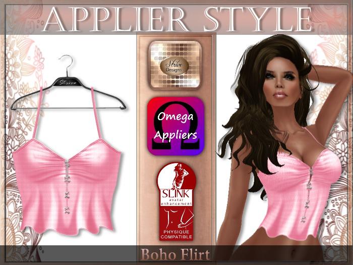 {SD} BOHO FLIRT TOP - Pink (Omega & Slink Appliers)