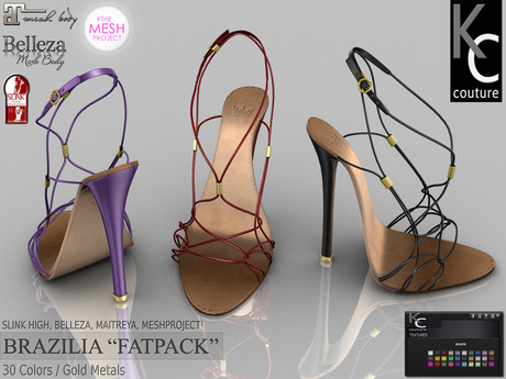 .:KC:. BRAZILIA Heels for Slink High, Maitreya, Belleza, Meshproject