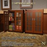 :: N :: Gustav Mission Bookcase, Oak