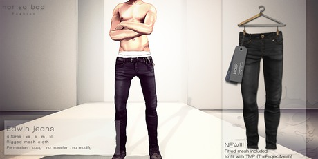 not so bad . mesh . EDWIN jeans . black