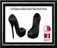 Cele'Sations Black Snake Skin Mesh Heels Slink High