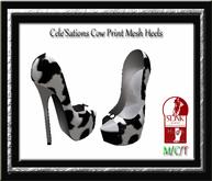 Cele'Sations Cow Print Mesh Heels Slink High