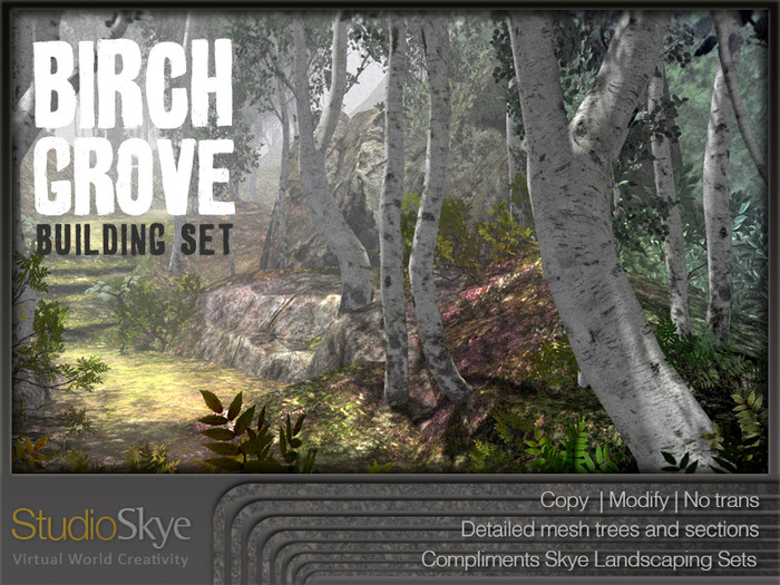 Skye Birch Grove Building Set - 4 Season Trees 100% Mesh