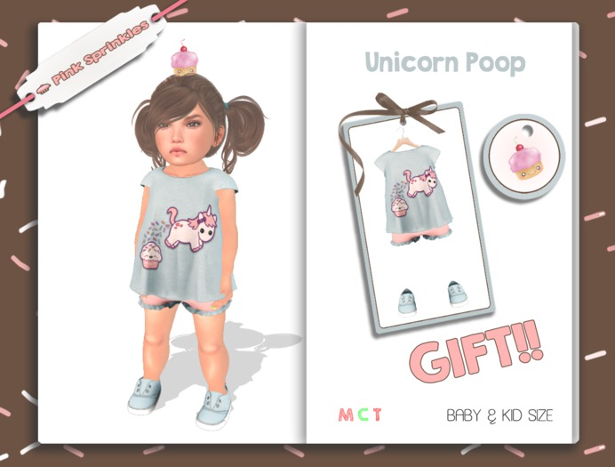 GIFT Pink Sprinkles - Shiloh Tee *Unicorn Poop* (outfit for Toddleedoo avatars)