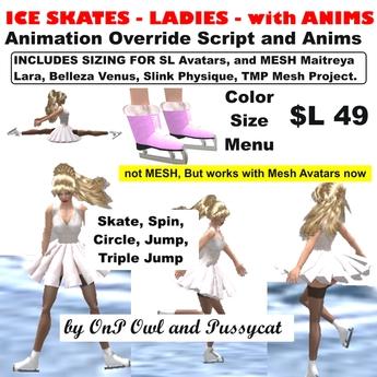OnP ladies ice skates with anims