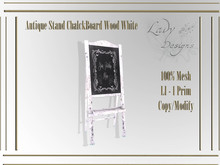 Lady Designs - Antique Stand ChalckBoard Wood White