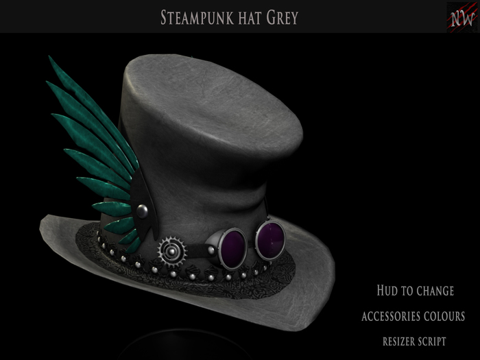 ! [NW] Grey Steampunk Hat