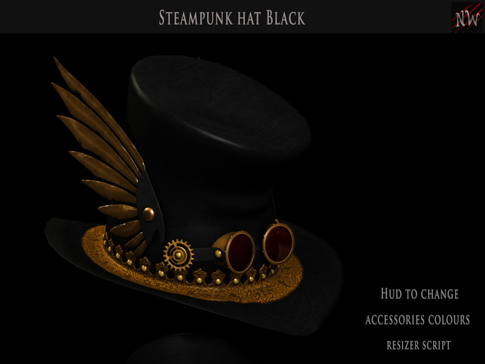 ! [NW] Black Steampunk Hat