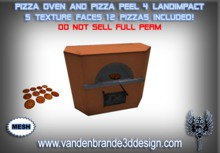 ~Full perm MESH pizza oven + pizza peel, 5 texture faces 4 prims + 12 Pizzas included