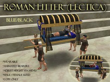 Roman Litter (Lectica) - Wearable - Animated - Blue -  BOXED